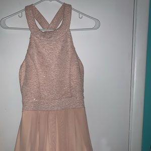 Pink Shimmer Bow Homecoming Dress